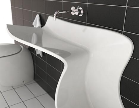 滑り台のような洗面の写真2