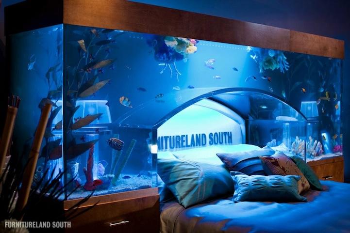 ちょっと羨ましいアクアリウム付きベッドの写真1