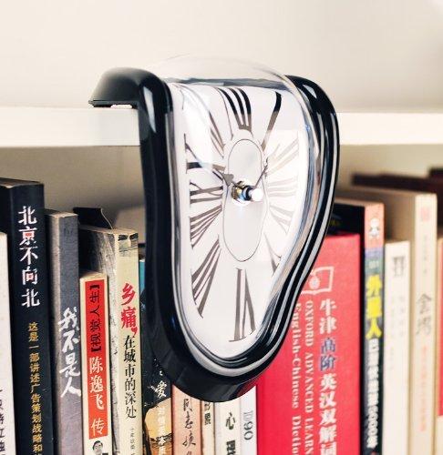 ダリの柔らかい時計 インテリア置き時 90度曲がったアートクロック(ブラック)の写真1